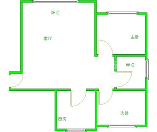 华夏之家  2室1厅1卫    1900.0元/月