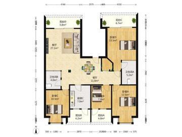 中华家园西区  4室1厅2卫    380.0万