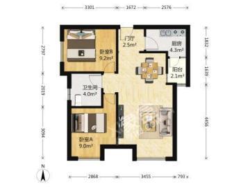 绿地之窗  2室1厅1卫    4500.0元/月