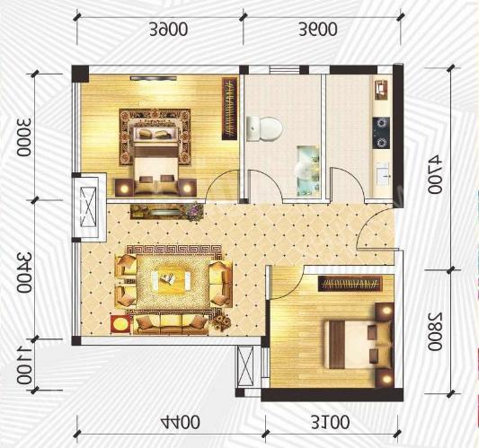 一品CG  2室2厅1卫    6000.0元/月