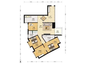 金沙鹭岛一期  3室2厅2卫    380.0万
