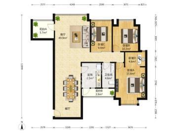 成都奥克斯广场  3室2厅2卫    385.0万