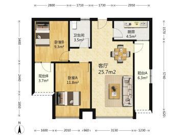 华府世家  2室1厅1卫    160.0万