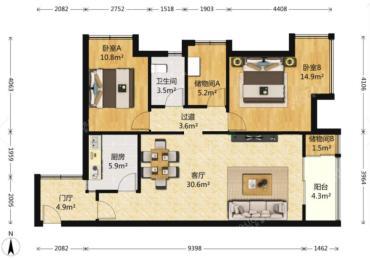 华润凤凰城一期  2室2厅2卫    289.0万
