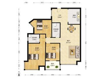 中铁丶西子香荷  3室2厅2卫    350.0万
