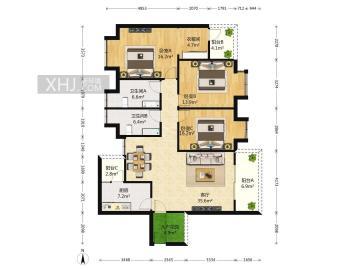 汇锦城A区  3室2厅2卫    350.0万
