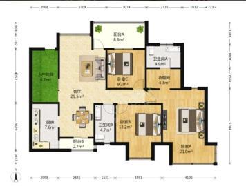 祥域  3室2厅2卫    306.0万