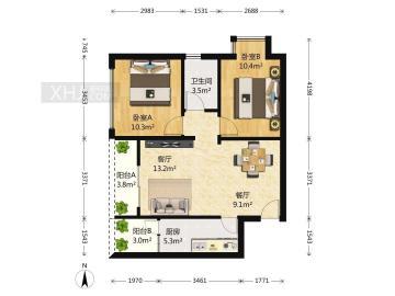 复城国际T5  2室2厅1卫    128.0万