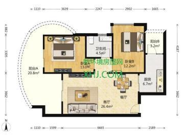 龙湖世纪峰景  2室2厅1卫    300.0万