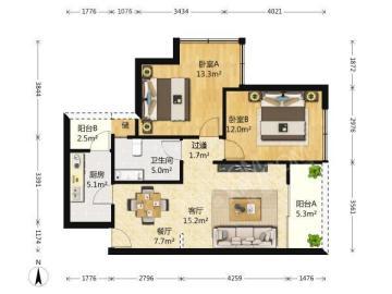 天府豪庭  2室1厅1卫    3000.0元/月