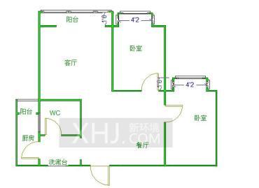 中铁丶西子香荷  2室1厅1卫    210.0万