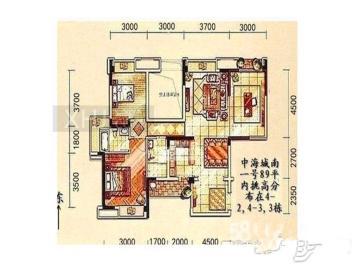中海城南一号  2室2厅1卫    340.0万