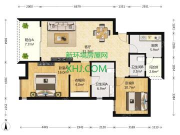 龙湖世纪峰景  2室2厅2卫    330.0万