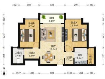 美城云庭  2室2厅1卫    160.0万